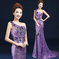art red diamond - Sexy Formal Evening Dresses Purple One shoulder Mermaid Sequins Crystal Diamond Backless Evening Gown Promotion YYF