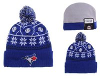 authentic knit - Toronto Blue Jays Pom Beanies Hotselling Sport Team Knitted Skullies Authentic Brand Winter Hats