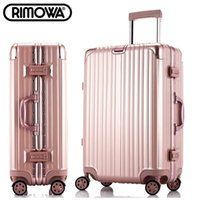 Wholesale 20inch rimowa style aluminum frame angle drawbars hook up universal casters rolling carry on luggage suitcase trolley bags travel case