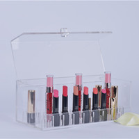 acrylic cosmetic tray - Bathroom Organizer MAke Up Organizers Trays Acrylic Storage Boxes For Lipsticks Clear Case Display Box Home Lipstick Cosmetics Plexiglass