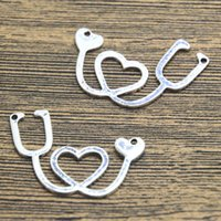 antique stethoscope - 12pcs Medical Charm Antique Tibetan silver Sided Stethoscope Charms pendant x27mm