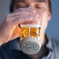 beer stein lids - Hopped Up Beer Glass Creative Transparent Glasses Cup Festival Carnival Slip Silicone Lid Beakers
