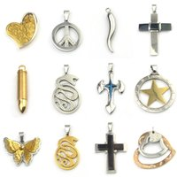 animal crossing signs - Mix Quality Stainless Steel Pendants Charms Cross Peace Sign Animal Heart Charm Pendant for Necklace Jewelry pendentif Y6010