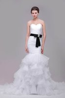 Wholesale 2016 Mermaid Wedding Dresses Real Pictures Sweetheart Pleats Tiered Ruffle Organza Skirt with Black Beaded Belt Bridal Gowns