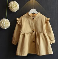 Wholesale 2016 Autumn Kids Clothing Girls Trench Coat Children Outwear Ruffles Long Sleeve Tops Dust Wind Coats Khaki