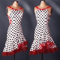 Wholesale Adult Latin Dance Dress Salsa Tang Cha cha Ballroom Competition Group Dance Dress Dots Dress S XXL Customizable A11
