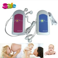 Wholesale Pocket Fetal Doppler MHz Baby Heart Monitor without LCD Display Pink and Blue optional