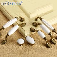 antique white kitchen cabinets - 5pcs White Ceramic Handle European Antique Bronze Drawer Pull Kitchen Cabinet Handles Wardrobe Handle