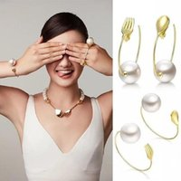 asian tableware - Designer HF with fork spoon classic tableware series pearl bracelet can be adjusted Earrings creative fashion trends