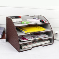 Wholesale 4 layer arc wood leather desktop office file document stationery tray rack file stand organization B
