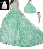 Wholesale Luxury Lace Red carpet Vestidos de quinceañera Girls Sweet Removable Trains Crystal Women s Quinceanera Dresses With Free Gift Petticoats