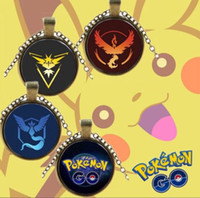 Wholesale New Poke GO Team Valor Instinct Mystic Logo Necklaces Inch Antique Bronze Gemstone Necklaces High Quality Jewelry For Women And Men Fans