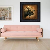 abstract nature pictures - 1 Picture Combination Width Painting Nature Animal Deer Stag Head Vintage Style Print Canvas Picture For Home Decoration