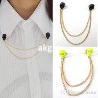 Wholesale Gothic Skull Head Spike Stud Collar Tip Shirt Brooch Necklace Tassel Chain Punk E691
