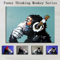 art thinking - 10 Funny Thinking Monkey Series Pure Hand Painted Modern Wall Decor Abstract Animal Art Oil Painting On Canvas customized size al osm