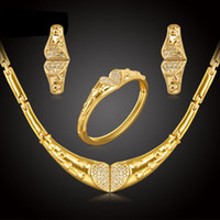 africa big - Trendy Women Party Gift K Gold Plated Africa Nigeria Fashion wedding Dubai rhinestone Necklaces Earring heart big Jewelry Sets