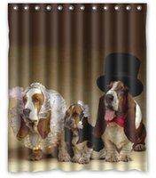 basset puppies - Dogs Three Basset Hound Hat Puppy Bathroom products Fabric Bath Shower Curtain x180cm Home Decor