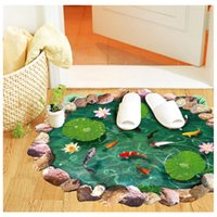 Wholesale 2 piece D Fishpond Cute Floor Stickers Novelty Living Room Decal Removable Goldfish Lotus Stickers Waterproof Home Decorations