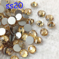 Wholesale 1440pcs ss20 mm gold champagne Flat Back Nail Art Glue On Non Hot Fix Rhinestones golden shadow crystal flatbacks