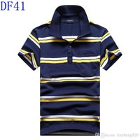 Wholesale New product Summer men s short sleeve T shirt cotton lapelloose big yards stripe polo shirts s half sleeve collared blouse