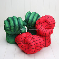 Compra Superhéroes juguetes de peluche-10 '' 26cm Los guantes increíble Hulk hombre araña super héroe de la rotura violenta de felpa Guante de boxeo Juguetes Niños Niños
