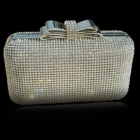 acrylic box frames - 2016 Net Diamond Encrusted Box Clutch Sequin Evening Bag Women Purse with Metal Frame Crystal Bow Clasp Hollow Out XP035