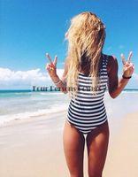 Wholesale 2016 Swimsuit Bodysuit Womens Bandeau One Piece Swimsuit Stripes bandage monokini Fashion Vintage Bathing Suits LT09