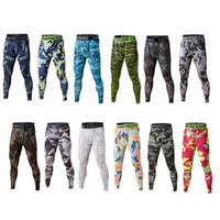 Wholesale Camouflage Stretch Pants - Camo Men's Sport Gym Skinny Jogging Pants Camouflage Bodybuilding Stretch Pants Quick Dry Pants Basketball Training Leggings