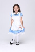 alice rabbit costume - Children Halloween Costumes Alice in the Wonderland Dress for kids Cotton Maid Dress Cosplay Apron Dress costume Rabbit Cartoon Anime dress