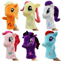 Wholesale 6pcs New Hand puppets Horse plush doll stuffed animals wedding dolls Christmas Gift have colors