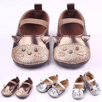 achat en gros de chats de bande élastique-New Baby Girl Chaussures Shinning Cuir Cat Design Elastic Band Premières chaussures de marche Anti-slip Soft TPR Sole 0-12 mois