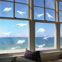 animal window clings - Green waterproof matte vinyl wall stickers dinosaur carved glass windows frosted white Cafe new European and American fashion