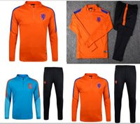 Wholesale 2016 Netherlands Blue round neck soccer Training suit outdoor Football sportswear fashion men Sweatshirt Long sleeve T shirt Jackets Pants