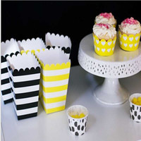 bagged corn - Tableware Decorations Mini Popcorn Boxes Candy Box Birthday Party Pop Corn Box Bag For Wedding Event Favor Supplies Horizonal Striped Pink