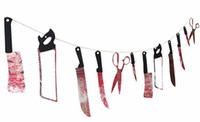 Wholesale Halloween prop haunted house decor torture bloody Body tools Severed Body Parts garland banner Gory Party Hanging flags Decorations