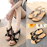 beaded wedge sandal - 2016 Europe United States new fashion Summer beaded sandals Bohemia flat wedge students for women s shoes