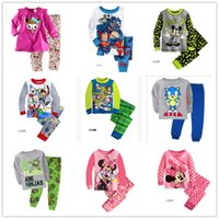 Cheap 6 sets lot Boys Girls Planes Mickey Minnie Mouse long sleeve pajamas kids cotton pyjamas Children Baby Sleepwear Boy's Girl's homewear suit