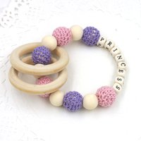bead crochet jewelry - Creative Baby Crochet Wooden Beads Ring Nursing Toy Mommy Jewelry Baby Teether princess safe to chew TT005