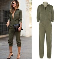 autumn fonts - Combinaison Femme Autumn Winter Women Long Sleeve Jumpsuits and Rompers Casual Army Green Font Button One Piece Outfits
