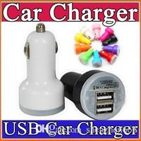 Wholesale 500X Candy dual usb car charger Auto Charger Adapter for iPod iPhone5s S Plus Samsung HTC iPod iPad Blue LED Candy Color M SC