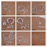 Wholesale Cheap African Style Jewelry - 6 sets mixed style women's sterling silver jewelry sets,cheap fashion 925 silver Necklace Bracelet Earring jewelry set GTS50 free shipping