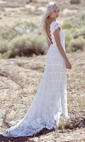 Wholesale 2016 Boho Wedding Dress With Bateau Neck Sheath Column Lace Sweep Train Short Sleeves Bohemian s Wedding Gowns DL10172