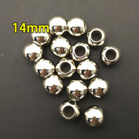 Wholesale 14mm beads for scarf charm pendant for scarf CCB marerial in necklaces imitation gold and silver for DIY jewelry big hole beads