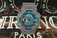 acrylic watch box - aaa qualtiy new style Black blue Plastic Unisex Retail Fashion G Watch ga110 Time Zone Watch samll pointer work Watches with box
