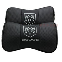 Wholesale 2 X Genuine Leather Car Pillow Neck Rest Seat Cushion Covers for DODGE Ram AVENGER CHARGER DART CHALLENGER JOURNEY GRAND CARAVAN