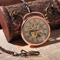 antique hand lantern - Lantern Pendant Mechanical Roman Numbers Pocket Watch Hand Winding Necklace Vine Antique Steampunk Skeleton Watch