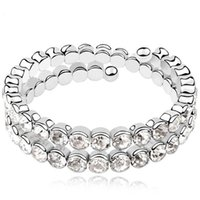 Wholesale Korea Trendy Jewelry For Women Charm Wrap Bracelets Gorgeous Platinum Plated Crystal Bangles Wedding Jewelry