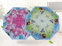 Wholesale Cute Cartoon Frozen Umbrellas Student Rain and Sun Proof Frozen Princess Elsa Anna Olaf Children Umbrella cm