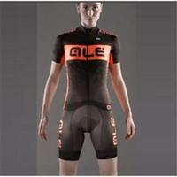 Wholesale Cheap ALE women Cycling Jerseys Set Short Sleeve With Padded Bib Trousers Men Summer Cool Cycling Skinsuit Bike Wear XS XL