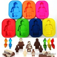 Wholesale Silicone Minifigure Robot Lego Man Ice Tray Chocolate Soap Mold Cake Cube Candy H210276